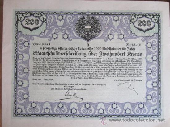 1920. BONO ALEMANIA. 200 CORONAS (Coleccionismo - Acciones Internacionales)