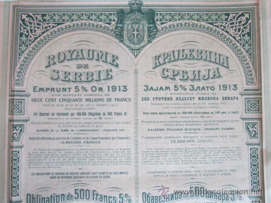 1921. BONO SERBIA, 500 FRANCOS DE ORO AL 5% (Coleccionismo - Acciones Extranjeras )