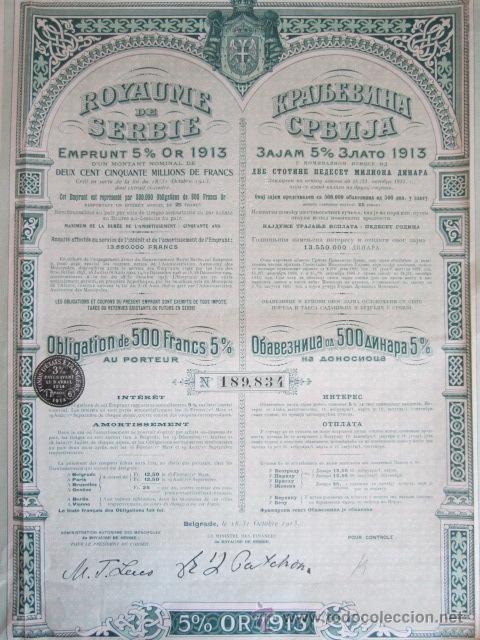 Coleccionismo Acciones Extranjeras: 1921. BONO SERBIA, 500 FRANCOS DE ORO AL 5% - Foto 2 - 37654928