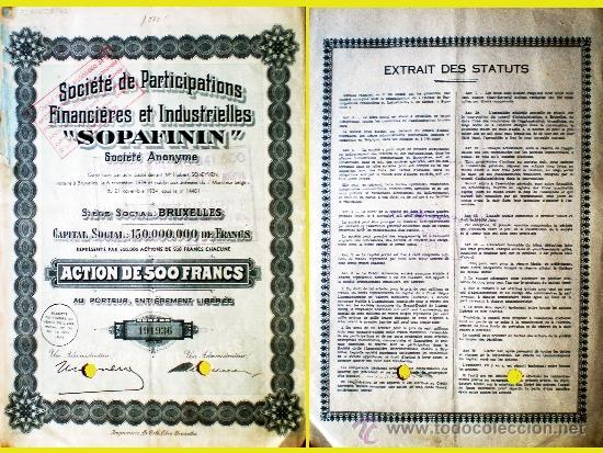 """1934.- ACCION DE 500 FR. DE SOCIETÉ DE PARTICIPATIONS FINANCIÉRES ET INDUSTRIELLES """"SOPAFINNI"""". (Coleccionismo - Acciones Internacionales)"""