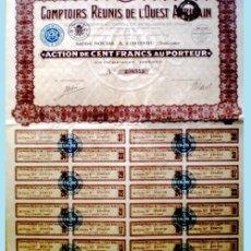"Coleccionismo Acciones Extranjeras: 1929.- ACTION DE 100 FR. AL PORTADOR. DE ""COMPTOIRS REUNIS DE L'OUEST AFRICAIN"". . Lote 37909575"