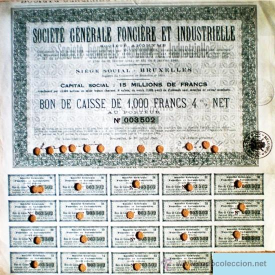 1943.- BONO DE CAJA DE 1000 FR. AL 4 % DE SOCIETÉ GÉNÉRALE FONCIÉRE ET INDUSTRIELLE. SEDE EN BRUXELL (Coleccionismo - Acciones Internacionales)