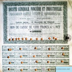 Coleccionismo Acciones Extranjeras: 1943.- BONO DE CAJA DE 1000 FR. AL 4 % DE SOCIETÉ GÉNÉRALE FONCIÉRE ET INDUSTRIELLE. SEDE EN BRUXELL. Lote 37911988