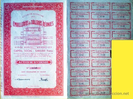 1944.- ACTION DE DIVIDENDE DE EMAILLERIES & TOLERIES REUNIES, S.A. CON CUPONES. (Coleccionismo - Acciones Extranjeras )
