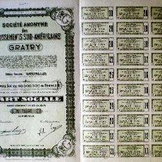"""Coleccionismo Acciones Extranjeras: 1944.- PART SOCIALE AL PORTADOR, SIN DESIGNACIÓN DE VALOR DE ÉTABLISSEMENTS SUD-AMERICAINS """"GRATRY"""". Lote 37925674"""