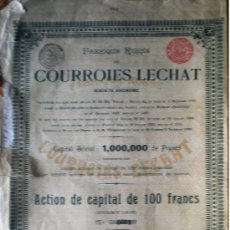 Coleccionismo Acciones Extranjeras: 1900.-ACTION DE 100 FRS. D. FABRIQUE RUSSE COURROIES LECHAT, S.A. CON CUPONES ANUALES DE 1914 A 1919. Lote 37948032