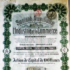 """Coleccionismo Acciones Extranjeras: 1918.-ACTION DE 100 FR. AL PORTADOR DE """"SOCIÉTÉ AUXILIAIRE POUR L' INDUSTRIE ET LE COMMERCE,S.A."""". Lote 37952544"""