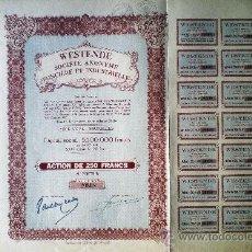 Coleccionismo Acciones Extranjeras: 1935.- ACTION DE 250 FR. AL PORTADOR, CAPITAL 5.500.000 FR. DE WESTENDE S.A., FONCIERE & INDUSTRIELL. Lote 37953053