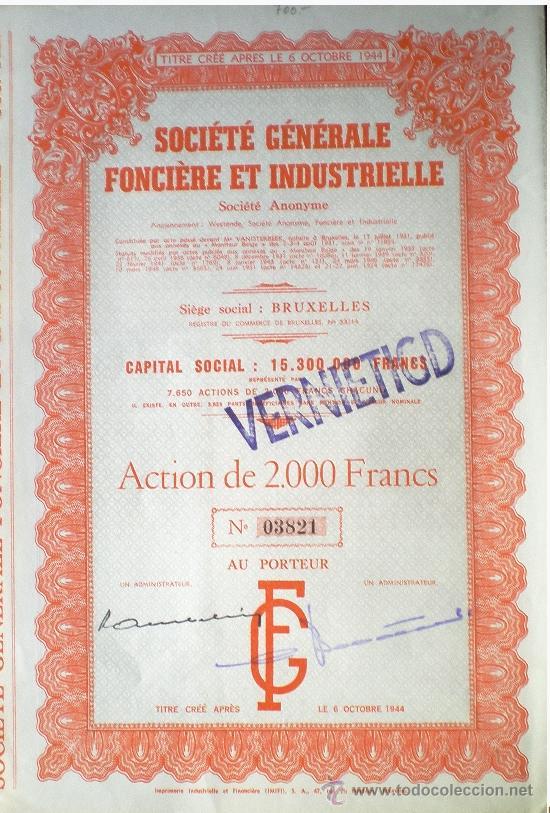 """1944.- TITULO ACTION DE 2.000 FR. AL PORTADOR DE """"SOCIETE GENERALE FONCIERE ET INDUSTRIELLE, S.A."""" (Coleccionismo - Acciones Extranjeras )"""