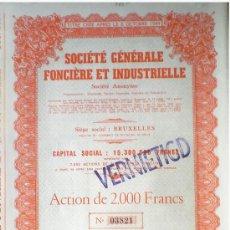 """Coleccionismo Acciones Extranjeras: 1944.- TITULO ACTION DE 2.000 FR. AL PORTADOR DE """"SOCIETE GENERALE FONCIERE ET INDUSTRIELLE, S.A."""". Lote 37958340"""