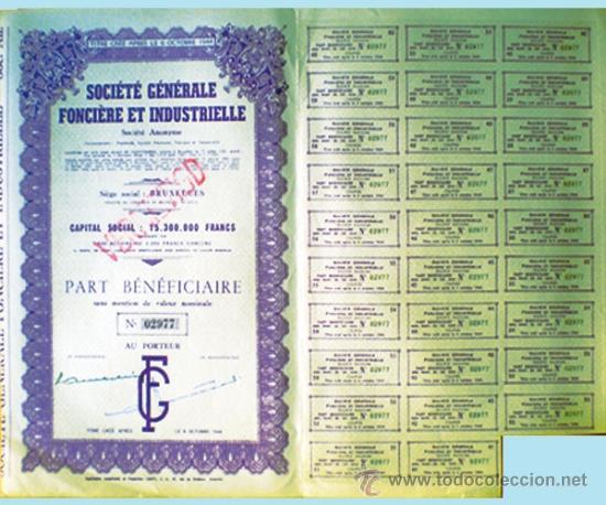"""1944.- TITULO PART BENEFICIERE SIN NOMINAL DE """"SOCIETE GENERALE FONCIERE ET INDUSTRIELLE, S.A."""" (Coleccionismo - Acciones Internacionales)"""