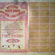 Coleccionismo Acciones Extranjeras: 1931.-PART SOCIALE S/DESIG. DE VALOR. CAPITAL 25.000.000 FR. DE WESTENDE S.A. FONCIERE & INDUSTRIELL. Lote 37959170