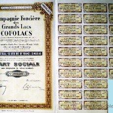 """Coleccionismo Acciones Extranjeras: 1944.- PART SOCIALE SIN NOMINAL DE COMPAGNIE FONCIERE DES GRANDS LACS """"COFOLACS"""", SDAD. CONGOLESA. Lote 37959898"""