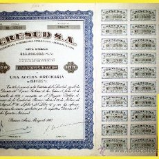 Coleccionismo Acciones Extranjeras: 1960.- ACCION ORDINARIA DE 100 PS. DE CRESUD, S.A. COMERCIAL, INMOBILIARIA, FINANCIERA Y AGROPECUARI. Lote 37969741