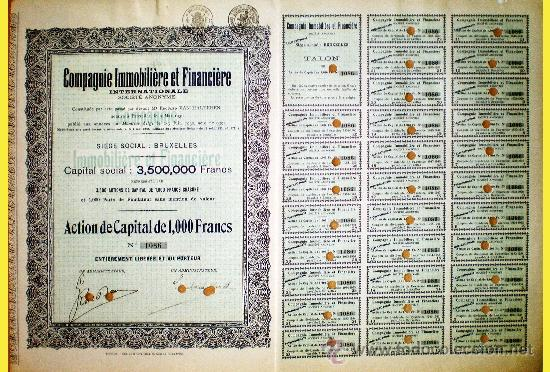 1930.- ACTION DE 1000 FR. CAPITAL 3,500.000 FR. DE COMPAGNIE IMMOBILIERE ET FINANCIERE INTERNATIONA (Coleccionismo - Acciones Internacionales)