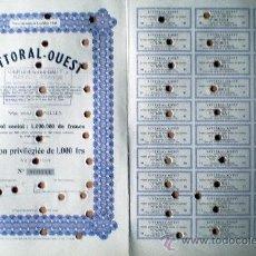 Coleccionismo Acciones Extranjeras: 1944.- ACTION PRIVILÉGIÉE DE 1000 FR. DE LITORAL– OUEST, S.A. COMPLETA CON 30 CUPONES. . Lote 37971153