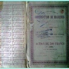 Coleccionismo Acciones Extranjeras: 1914.- ACTION DE 500 FR. DE CONSTRUCTION DES MACHINES, S.A. DE LIÉGE. CON 20 CUPONES. . Lote 37971592