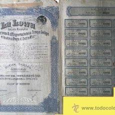 """Coleccionismo Acciones Extranjeras: 1926.- TITULO DE PART SOCIALE DE """"LA LOWA"""", S.A. D' IMPORTATION & D' EXPORTATION AU CONGO BELGA.. Lote 37984738"""