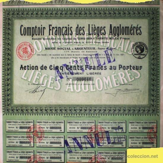 1936.- ACTION DE 500 FR. DE COMTOIR FRANÇAIS DES LIEGES AGGLOMERÉS.14 CUPONES. (Coleccionismo - Acciones Extranjeras )