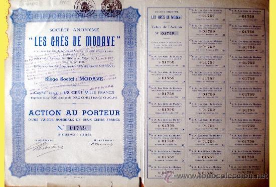 """1937.- ACTION DE 200 FR. DE """"LES GRÉS DE MODAVE"""", S.A. TALÓN Y 30 CUPONES COMPLETA (Coleccionismo - Acciones Internacionales)"""
