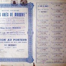 """Coleccionismo Acciones Extranjeras: 1937.- ACTION DE 200 FR. DE """"LES GRÉS DE MODAVE"""", S.A. TALÓN Y 30 CUPONES COMPLETA. Lote 37985443"""