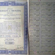 """Coleccionismo Acciones Extranjeras: 1944.- TITULO DE PART SOCIALE SIN DESIGNACIÓN DE VALOR DE ATELIERS """"TANTOT ET MENZEL"""" REUNIS, S.A. . Lote 37994864"""