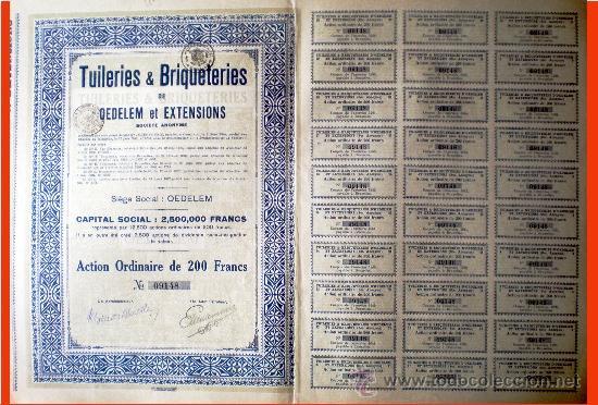"""1927.- ACTION ORDINARIA DE 200 FR. DE """"TUILERIS & BRIQUETERIES"""" DE OEDELEM ET EXTENSIONS, S.A. (Coleccionismo - Acciones Internacionales)"""