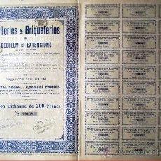 """Coleccionismo Acciones Extranjeras: 1927.- ACTION ORDINARIA DE 200 FR. DE """"TUILERIS & BRIQUETERIES"""" DE OEDELEM ET EXTENSIONS, S.A. . Lote 37996088"""