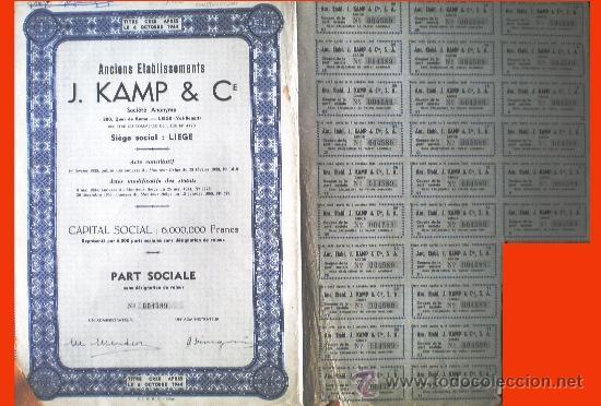 """1944.- PART SOCIALE SIN DESIGNACIÓN DE VALOR DE ANCIENS ETABLISSEMENTS """"J, KAMP & CIE."""", S.A. (Coleccionismo - Acciones Internacionales)"""