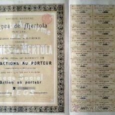 Coleccionismo Acciones Extranjeras: 1904.-ACCION AL PORTADOR SIN DESIGNACIÓN DE VALOR DE S.A. DE MINAS DE MERTOLA (PORTUGAL).. Lote 38005594