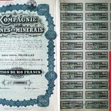 Coleccionismo Acciones Extranjeras: 1926.- ACTION DE 100 FR. DE COMPAGNIE DE MINES ET MINERAIS, S.A. (C.M.M.). COMPLETA CON 30 CUPONES. . Lote 38006316