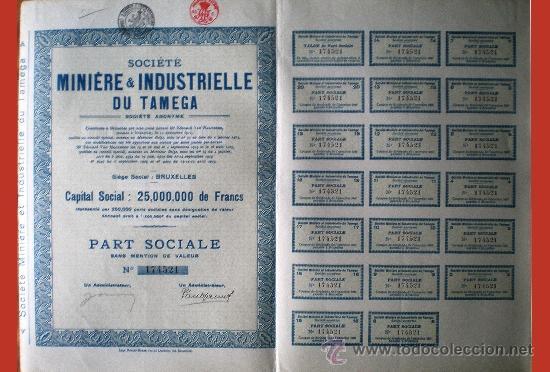 1925.- PART SOCIALE SIN MENCIÓN DE VALOR DE SOCIETE MINIERE & INDUSTRIELLE DU TAMEGA, S.A (Coleccionismo - Acciones Internacionales)