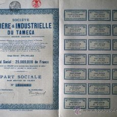 Coleccionismo Acciones Extranjeras: 1925.- PART SOCIALE SIN MENCIÓN DE VALOR DE SOCIETE MINIERE & INDUSTRIELLE DU TAMEGA, S.A. Lote 38007306
