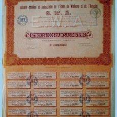 Coleccionismo Acciones Extranjeras: 1920.- ACTION DE 100 FR. SOCIETE MINIERE ET INDUSTRIELLE DE L'ETAIN, DU WOLFRAM ET DE L'ARSENIC EWA. Lote 38007650