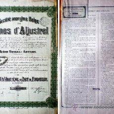Coleccionismo Acciones Extranjeras: 1909.- TITULO DE UN VINGTIEME DE PART DE FONDATEUR DE SOCIETE ANONIMA BELGA DES MINES D'ALJUSTREL, . Lote 38008076