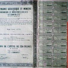 """Coleccionismo Acciones Extranjeras: 1929.-ACTION DE 250 FR. CIE. GEOLOGIQUE ET MINIERE DES INGENIEURS ET INDUSTRIELS BELGES """"GÉOMINES"""". Lote 38008511"""