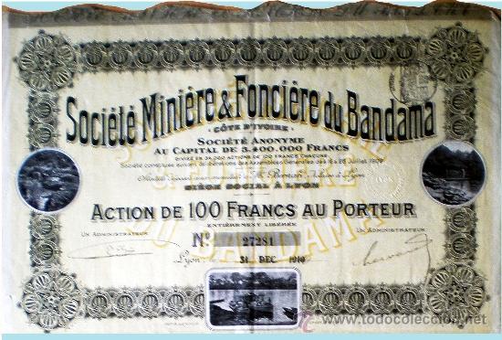 "1910.- ACTION DE 100 FR. AU PORTEUR DE SOCIETE MINIERE & FONCIERE DU BANDAMA, S.A. ""COTE D'IVOIR"" (Coleccionismo - Acciones Extranjeras )"