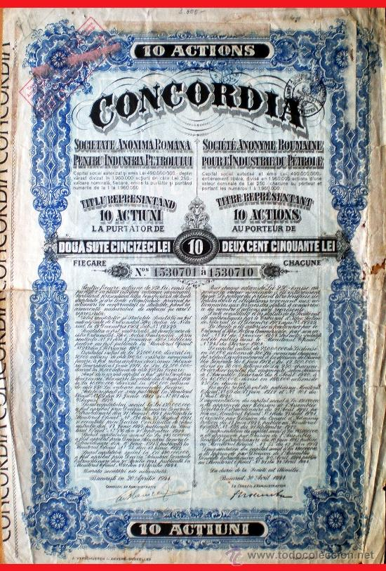 1924.-TITULO DE 10 ACTIUNI DE 250 LEI C/UNA (2.500 L) S. A. ROMANA INDUSTRIE DU PETROLULUI CONCORDIA (Coleccionismo - Acciones Internacionales)