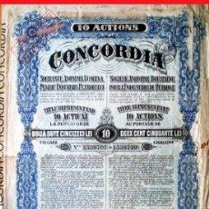 Coleccionismo Acciones Extranjeras: 1924.-TITULO DE 10 ACTIUNI DE 250 LEI C/UNA (2.500 L) S. A. ROMANA INDUSTRIE DU PETROLULUI CONCORDIA. Lote 38025202