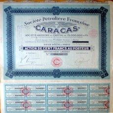 """Coleccionismo Acciones Extranjeras: 1932.- ACTION DE 100 FR. AL PORTADOR DE SOCIETE PETROLIERE FRANÇAIS DE """"CARACAS"""". CON 23 CUPONES. Lote 38026681"""