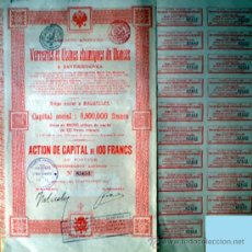 Coleccionismo Acciones Extranjeras: 1914.- ACTION DE CAPITAL DE 100 FR. DE VERRERIES ET USINES CHIMIQUES DU DONETZ, S.A. (QUIMICAS). . Lote 38043245