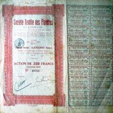 Coleccionismo Acciones Extranjeras: 1923.- ACTION DE 250 FR. DE LA SOCIETE TEXTILE DES FLANDRES, S.A. SEDE EN GAND. . Lote 38046234