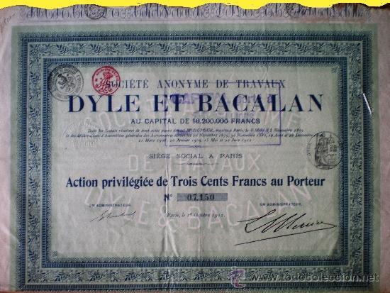 """1912.- ACTION PRIVILEGIÉE DE 300 FR. DE SOCIETE ANONYME DE TRAVAUX """"DYLE ET BACALAN"""". SEDE EN PARÍS (Coleccionismo - Acciones Internacionales)"""