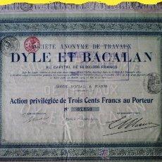 """Coleccionismo Acciones Extranjeras: 1912.- ACTION PRIVILEGIÉE DE 300 FR. DE SOCIETE ANONYME DE TRAVAUX """"DYLE ET BACALAN"""". SEDE EN PARÍS. Lote 38068093"""