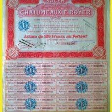 """Coleccionismo Acciones Extranjeras: 1924.- ACTION AL PORTADOR DE 100 FR. DE """"S.A.C.E.R."""" CHALUMEAUX E. ROYER, S.A. CON 25 CUPONES. . Lote 38069280"""
