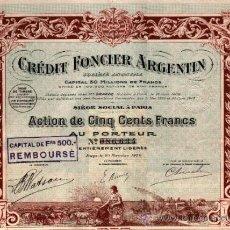 Coleccionismo Acciones Extranjeras: CREDIT FONCIER ARGENTIN 1920. Lote 38636102