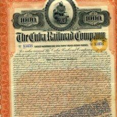 Coleccionismo Acciones Extranjeras: ACCION FERROCARRIL , THE CUBA RAILROAD, COMPANY , 1902 , 1000 PESOS, ORIGINAL. Lote 56011509