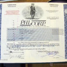 Coleccionismo Acciones Extranjeras: PHL CORP INC EN A4 RARA CON PRECIOSO GRABADO NOMINATIVA CHICAGO-PENSILVANIA. Lote 44650632
