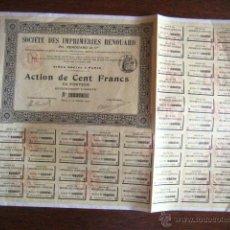 Coleccionismo Acciones Extranjeras: SOCIETÉ DES IMPRIMERIES RENOUARD. PARIS 1909. .. Lote 44870756