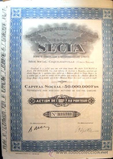 ACCION DE INDUSTRIA Y AGRICULTURA DEL CONGO BELGA DE 1927 (Coleccionismo - Acciones Internacionales)